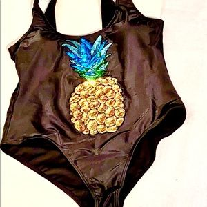 NWT Sequined Pineapple Swimsuit Size XL